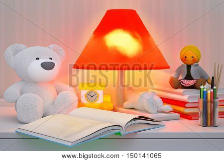 Children's toys book colored pencils alarm clock the lamp are located on a table. 3D illustration