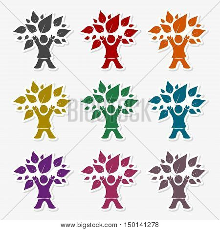 Child tree icon sticker on gray background