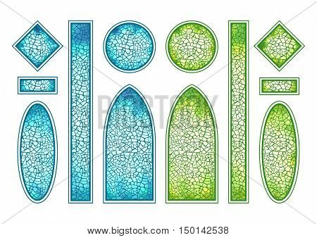 Blue and green stained-glass windows set. Different form, shape, size. Vector illustration isolated on white background. Colorful mosaic. Leaded light panel. Gothic arch window. Luminous glass.