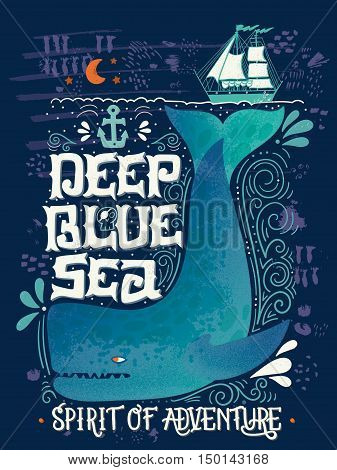 Hand Drawn Nautical Vintage Label With A Whale, Boat, Anchor, Lettering And Decoration Elements.