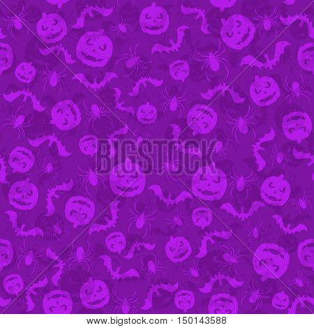 Seamless violet Halloween background with holiday icons, pumpkins, bats and spiders, illustration.
