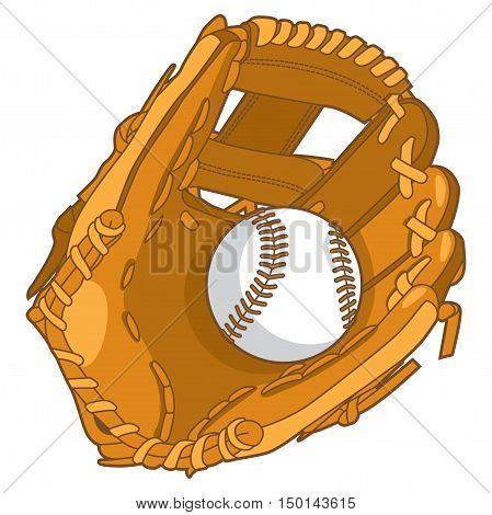 Beautiful Baseball Glove With Baseball In White Background