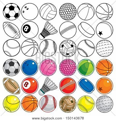Black & White and Colorful Sport Balls