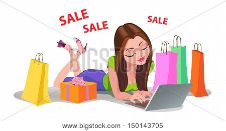 Happy Woman shopping online sale work bads packet floor Internet vector illustration