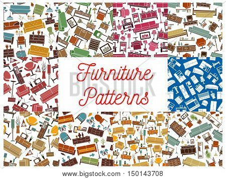 Home furniture seamless pattern backgrounds set of living room interior with sofa, chair, armchair, cabinet, bed, chest of drawers, tv set on stand, lamp. Home interior or furnishing themes design