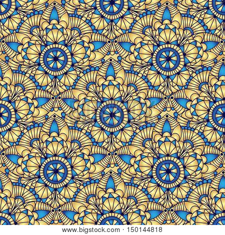 Vintage seamless pattern with gradient golden-blue circles vector