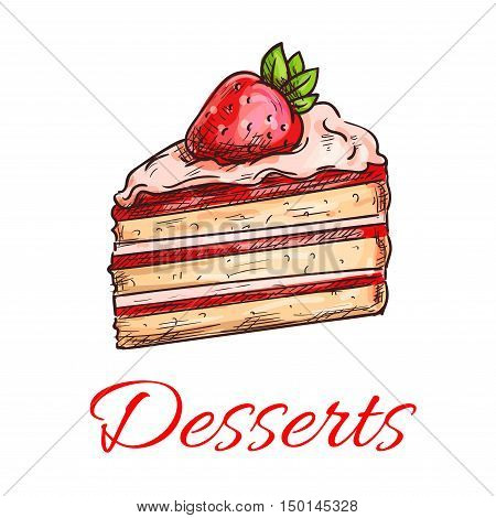 Strawberry cake icon with fruit cream and fresh berries. Delicious fruit cake in sketch style for cafe, pastry shop, cooking book design