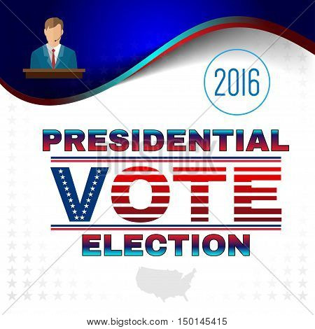 Digital vector usa election with candidate tribune and presidential vote, flat style