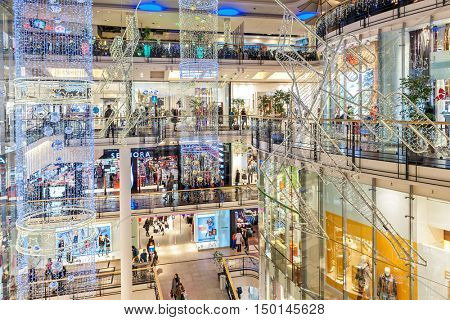 PRAGUE, CZECH REPUBLIC - DECEMBER 10, 2015: Palladium mall decorated for Christmas holidays - one of the biggest centers in Prague, popular shopping destination with locals and tourists.