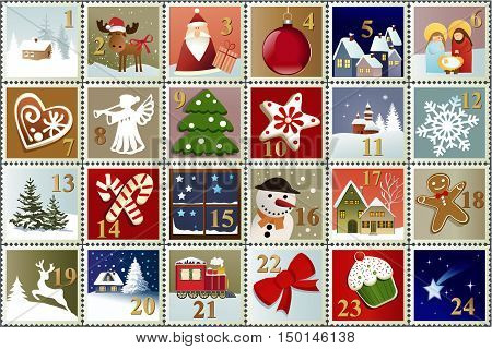 Advent Calendar with Christmas stamp collection - vector illustration