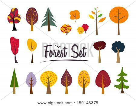 Vector autumn color forest set. Various trees and bushes colorful wood cartoons flat style. Conifers and deciduous. Different simple trees and shrubs on white background.