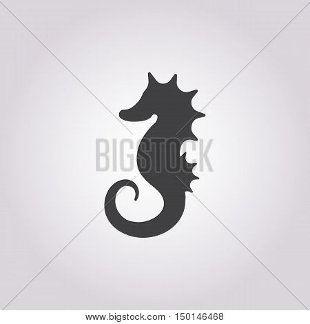 seahorse icon on white background for web