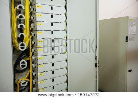 Open locker of rack mounted server in server room