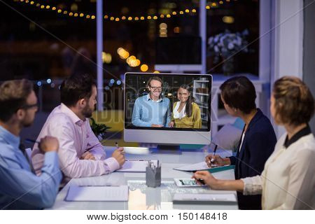 Business team having video conference in conference room at office