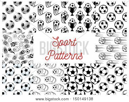 Sport seamless patterns with set of black and white football or soccer balls, champion trophy and winner cup. Sporting items, football championship themes design