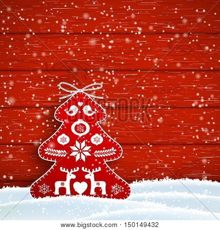 Christmas decoration in scandinavian style, red rich decorated tree in front of red wooden wall, vector illustration