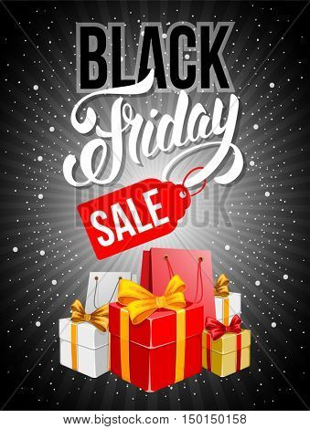 Black Friday Sale advertising inscription. Banner with packing bags and boxes. Vector stock template for your business design. Vertical composition.