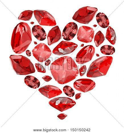 heart shape symbol from red ruby gems isolated on white background