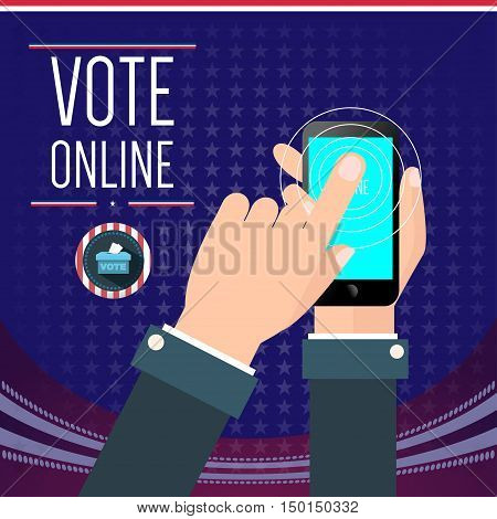 Digital vector usa election with vote online, hand on mobile phone, flat style
