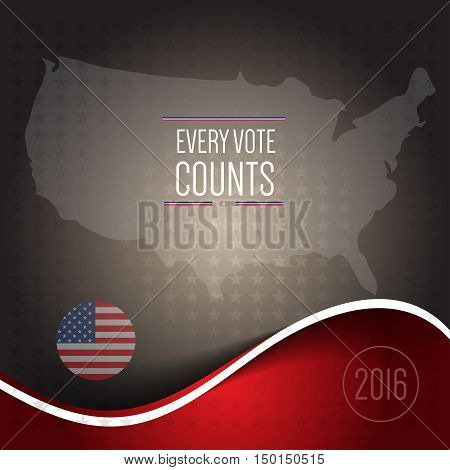 Digital vector usa election 2016, every vote counts, flat style