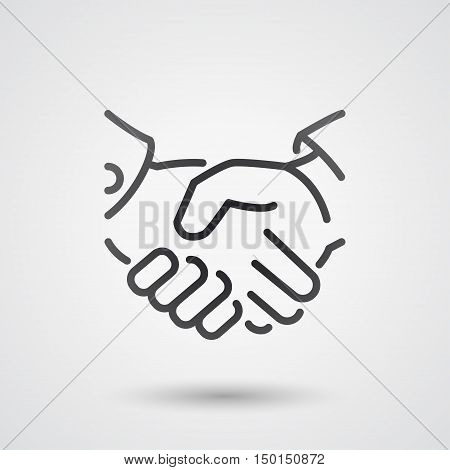 black handshake line icon. background for business and finance