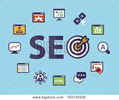 scheme with icons isolated main activities related to SEO technology