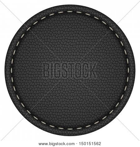 Blank round stitched black leather label isolated on white background vector template.