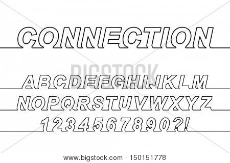 Connection One Line Font, latin alphabet letters and arabic numbers
