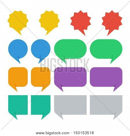 colorful solid speech bubbles set vector illustration