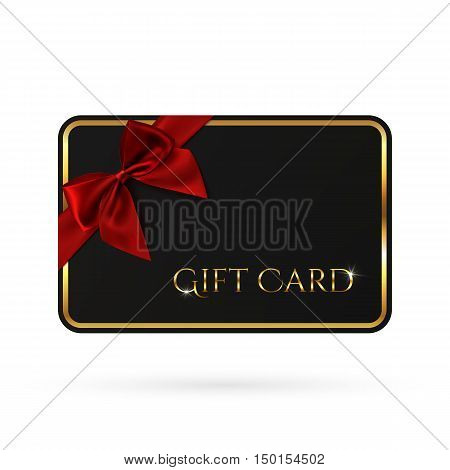 Black gift card template with red ribbon and a bow. Vector illustration.