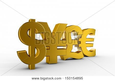 currency signs 3d illustration