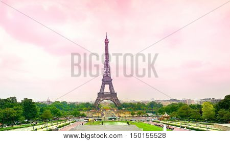 The a pink Eiffel Tower in Paris France