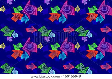 Textile seamless pattern for kids. Abstract neon pointer arrows. Vector