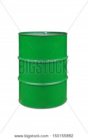 metal barrels of green color on a white background