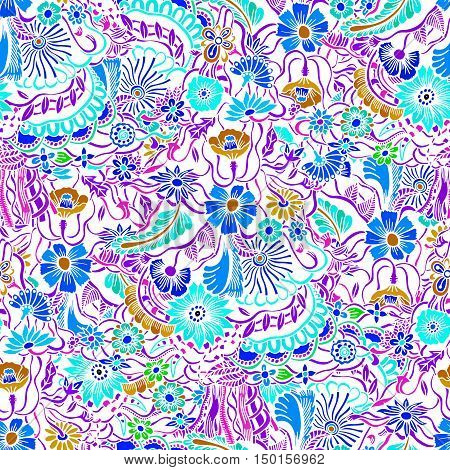 Floral colorful seamless pattern with garden flowers and plants. Perfect for fabric print