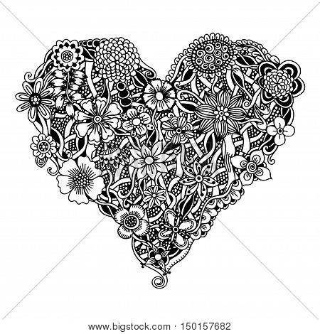Ornate floral heart for your design. Vector illustration