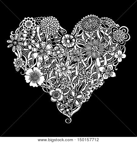 Floral heart. Doodle Heart. Vector illustration, Isolated on black