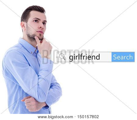 internet and online dating concept - search bar and man dreaming about girlfriend isolated on white background