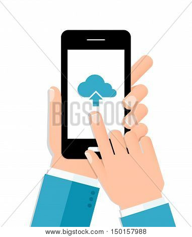 Flat design illustration of cloud computing. Hands holding smartphone connecting to the cloud.