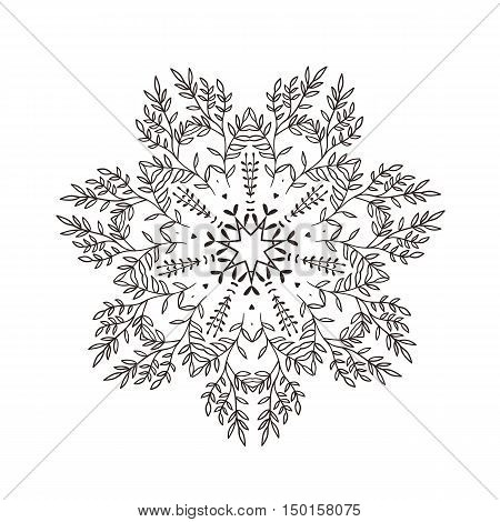 illustration stylized branches, star, flower, mandala. White background.