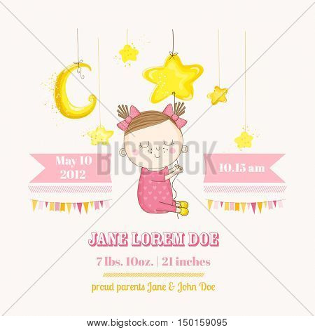 Baby Girl Sleeping on a Star - Baby Shower or Arrival Card - in vector