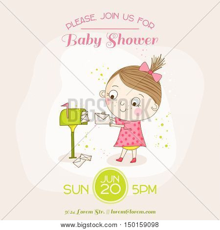 Baby Girl with Mail - Baby Shower or Arrival Card - in vector