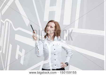 Future technology, navigation, location concept. Woman showing transparent screen with gps navigator map.