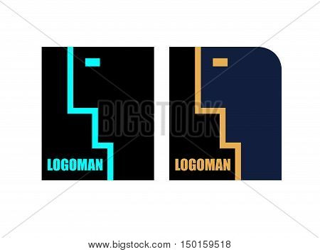 Abstract Logo of a person. Vector logo of a businessman. Speaking man.