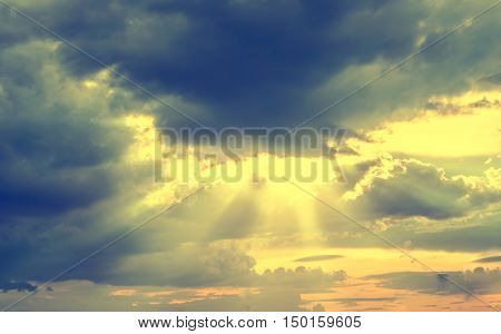 colorful moody sky background god sunlight effect