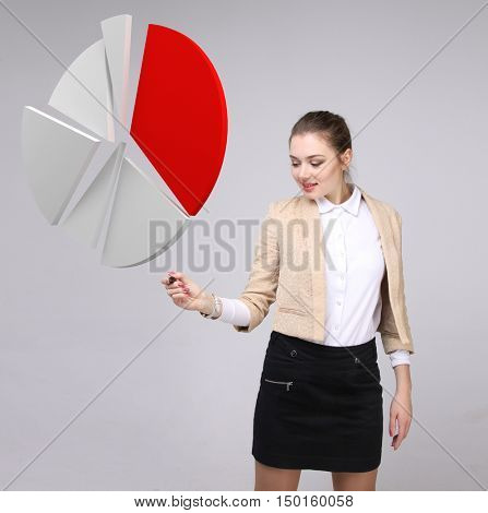 Woman shows a pie chart, circle diagram. Business analytics concept.