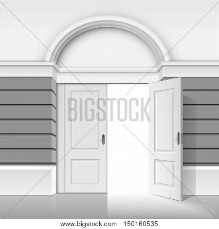 Vector Classic Shop Museum Boutique Building Store Front with Open Front Door and Place for Name Isolated on White Background