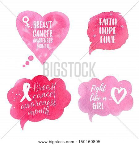 Breast Cancer Awareness Month ribbon Faith Hope Love Fight like a Girl banner poster set. Vector text on pink watercolor speech bubble backgrounds with white ribbon stars heart.