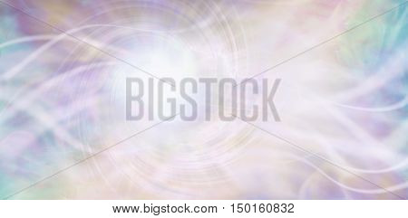 Streaming ethereal energy background - streams of white light and a central white vortex light area with a random pattern of aqua, purple, pink and light golden yellow