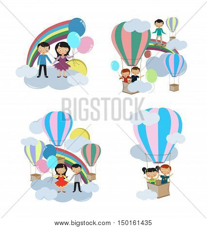Children playing in the clouds on a white background